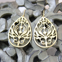 Matte gold filigree earrings Orient. Teardrop gold earrings. Boho earrings by Reyes Robledo