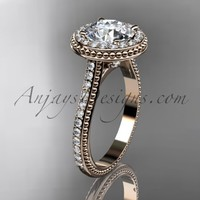 """14kt rose gold diamond unique engagement ring, wedding ring with a """"Forever Brilliant"""" Moissanite center stone ADER97"""