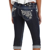 Miss Me Floral Embroidered Capri Jeans     | Dillard's Mobile