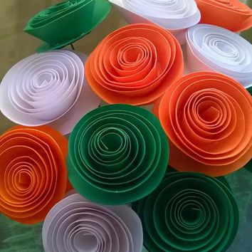 "Irish Flag colors Paper Flower bouquet Orange White Green  floral centerpiece Tricolor dz 1.5"" Rose blooms Bridal shower decorations"