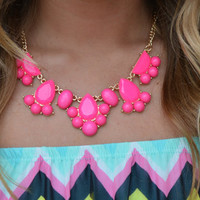 Neon Bubble Trouble Necklace · Haute Pink