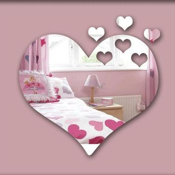 DCCKFS2 Hearts  3D mirror wall sticker ,  decorative mirror frame sticker for bedroom Nersury living room deco