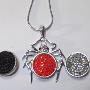 Spider snap charm Necklace snap jewelry Glammy Snaps Jewelry Great for Halloween
