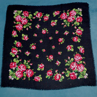 Vintage Black Polish Shawl / Russian Shawl / Ukrainian shawl / Floral square headscarf Roses / Neck scarf neckerchief Babushka kerchief USSR