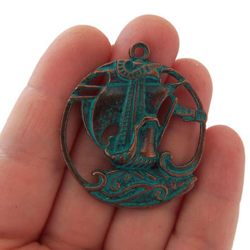 Pirate ship charm, Ship pendant, green patina sailing boat pendant, mykonos pendants, detailed charms, nautical charms, wholesale charms