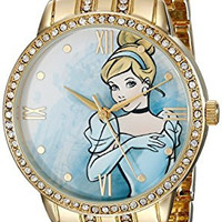 Disney Women's W001829 Cinderella Analog Display Analog Quartz Gold Watch