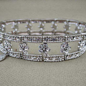 Vintage Rhinestones Cookie Lee Signed Bracelet Art Deco Style