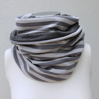 Heather Gray Reversible Infinity Scarf - Striped Gray Cowl - Gray Jersey Loop - Gray Striped Infinity Scarf - Heather Gray Stripe Eternity