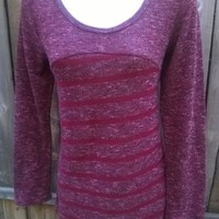 Fiancee women's L Knit Sweater Top Scoop Neck Long Sleeve Large Stretchy Shirt