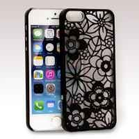 GreatShield TACT Series Design Pattern Rubber Coating Ultra Slim Fit Hard Case Cover for Apple iPhone 5 / 5S (Flora - Black)