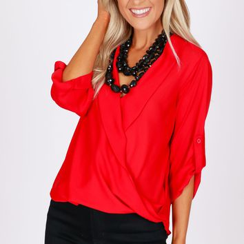 Flowy Wrap Top Red