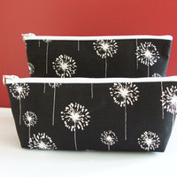 Black White Floral Dandelion Monogram Waterproof Lining Zippered Cosmetic Make Up Bag/Pouch/Accessory/Gadget Case/Bridesmaid Gift