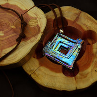 Dr. Seuss's Window,  A Complete Gift, Iridescent Bismuth Crystal Pendant and Leather Necklace, Fractal, Artistic Jewelry