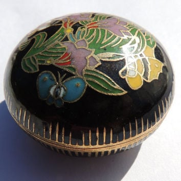 Vintage Trinket Box, Cloisonne Flowers on Black