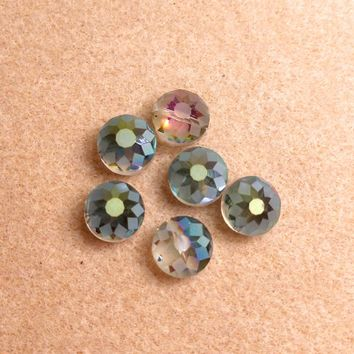 CCOIN-004 - Chinese Crystal Coin Beads,Green Vitrail,14x9mm | Pkg 6