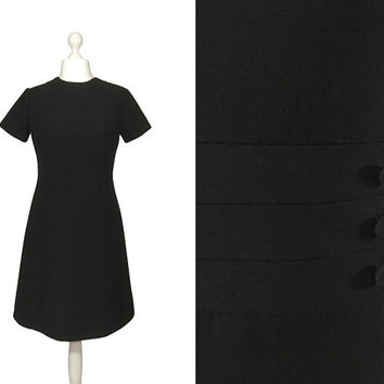 Black Wool Vintage Dress | A Line Dress | Little Black Dress With Button Detail