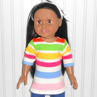 18 inch Girl Doll Clothes Striped Tee Shirt Cotton Knit Shirt American Doll Clothes