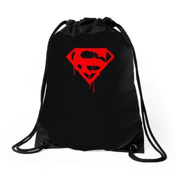 dripping blood superman Drawstring Bags