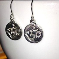 SALE: Silver Om Symbol Charm Earrings