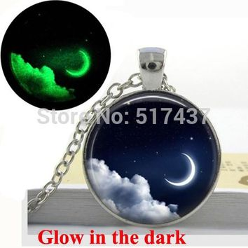 Glow in the dark silver  moon necklace
