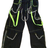 "Daang Goodman TRIPP NYC ""Man"" Pants Black Neon Green Skater Punk- MEDIUM 34x30"