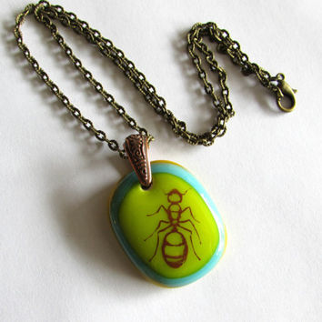 Formicidae - Ant - Glass Necklace - Free Shipping