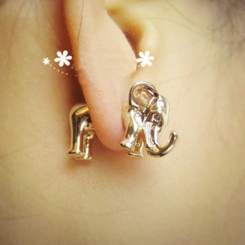 Funny Cute 3D Elephant Earrings Studs