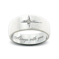 Forever In Faith Sterling Silver And Solitaire Diamond Women's & Men's Cross Ring by The Bradford Exchange