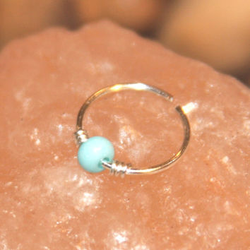 Sterling Silver Cartilage Earrings, Turquoise Beaded Nose Ring, Nose Hoop, Ear Cuff, Helix Hoop, Nose Rings, Seamless Hoop Piercing Jewelry