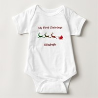 Santa Deer Cart First Christmas Baby Tee
