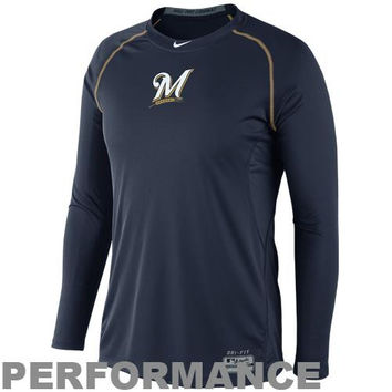 Nike Milwaukee Brewers Pro Combat Core Raglan Long Sleeve Performance T-Shirt - Navy Blue
