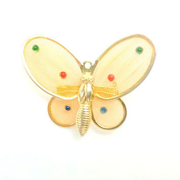 Brooch - Teal Filigree  Metal Butterfly