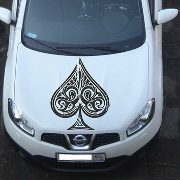playing cards car hood decal Spades Car Decals Spades Car Truck playing cards Side Body Graphics Decal Sticker for car ikcar91