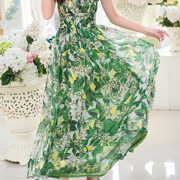 Green Bohemian Elastic Waist Floral Dress