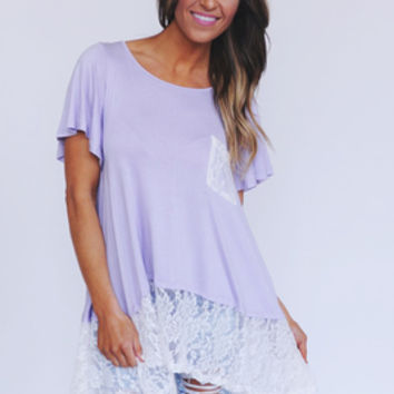 Lace Bottom Tee- Lavender