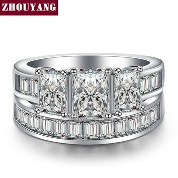 Luxurious Princess Square-cut Cubic Zirconia Silver Color Fashion Jewelry Ring Sets For Women Wedding Engagement Party ZYR631