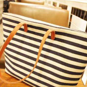 Navy Style Stripes Shoulder Bags