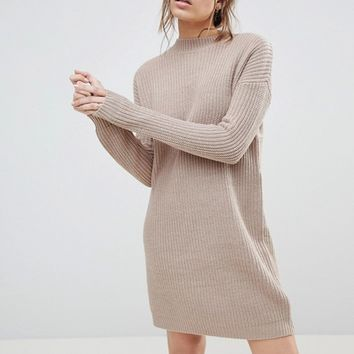 ASOS Chunky Knit Dress In Rib With High Neck at asos.com