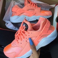 """NIKE""AIR Huarache Running Sport Casual Shoes Sneakers Sliver Orange"