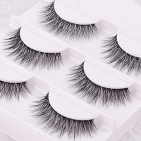 Free shipping 3pcs/lot 100% handmade real mink fur false eyelash 3D strip mink lashes thick fake faux eyelashes Makeup beauty