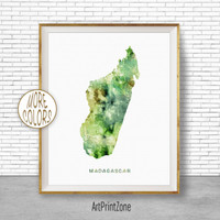 Madagascar Art, Watercolor Map, Madagascar Map, Office Wall Decor, Office Wall Art, Living Room Art, Map Decor, Map Wall Art Print Zone