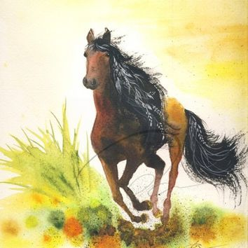 Graceful Thunder - Art Print free wild horse running girl's pony mare bedroom wall decor gift watercolor painting Canadian Oladesign 8x10
