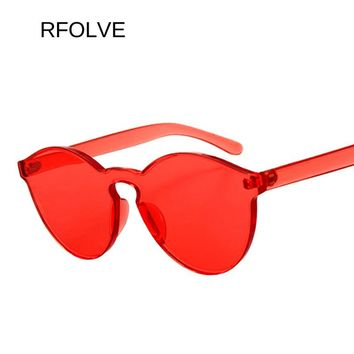 RFOLVE Heart Shaped Plastic Piece Sunglasses Women Men Fashion Sun Glasses Brand Designer Gray Pink Red Yellow Lens Shades R8067