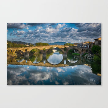 Bridge of Reflections Canvas Print by breezyskies