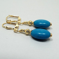 Imitation Turquoise Earrings, Faux Turquoise, Blue Earrings, Drop Earrings, Gold Plated, Oval Dangle, Clip on Earrings Lever Back Hook