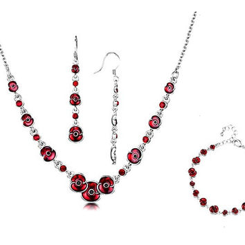 2016 New Red Enamel Classic Poppy Flower Necklace and Earrings Jewelry Sets White Gold Tone Remembrance Jewellery Souvenir