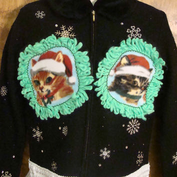 Black with White Snowflakes Christmas Cat Ugly Sweater