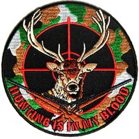 "Embroidered Iron On Patch - Hunting is in My Blood 4"" Deer Hunter Patch"