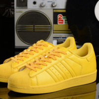 "Summer11""Adidas"" Fashion Shell-toe Flats Sneakers Sport Shoes colorful YELLOW"