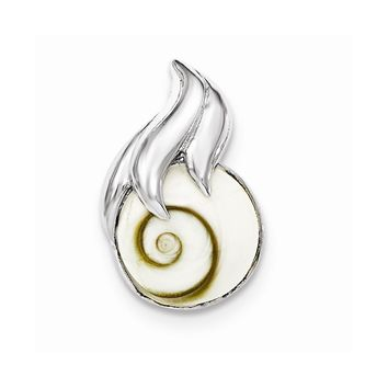 Sterling Silver Polished Round Shiva Eye Chain Slide Pendant